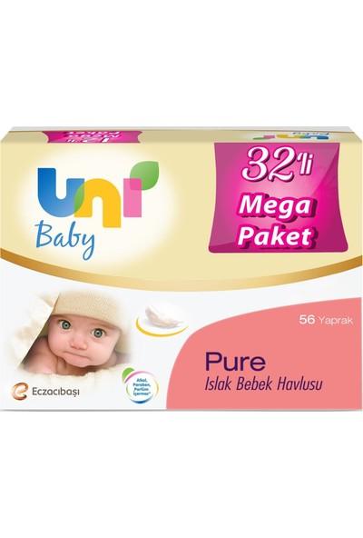 Uni Baby Pure Islak Havlu 32'li Paket 32 X 56 (1792 Yaprak)