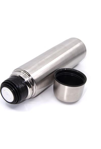 NunPromosyon Çift Katlı Kapaklı Çelik Termos Matara 0.75 Litre Gümüş