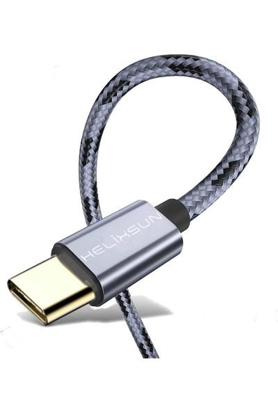 Helixsun Type-C Hızlı Şarj Data Kablosu 2'li Set 1 / 2 mt Füme