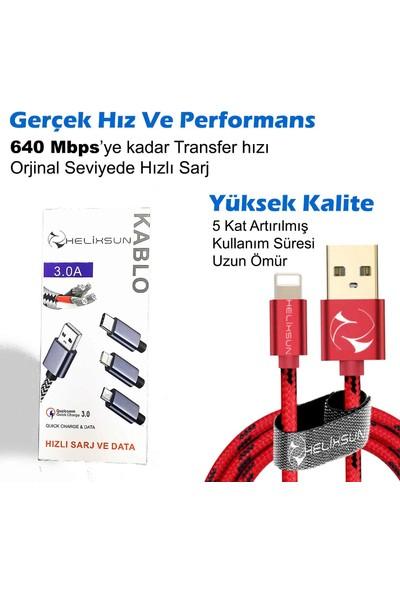 Helixsun Apple Iphone USB Lightning Data ve Hızlı Şarj Kablosu 2'li set 1 ve 2 Metre Füme - 3.0A