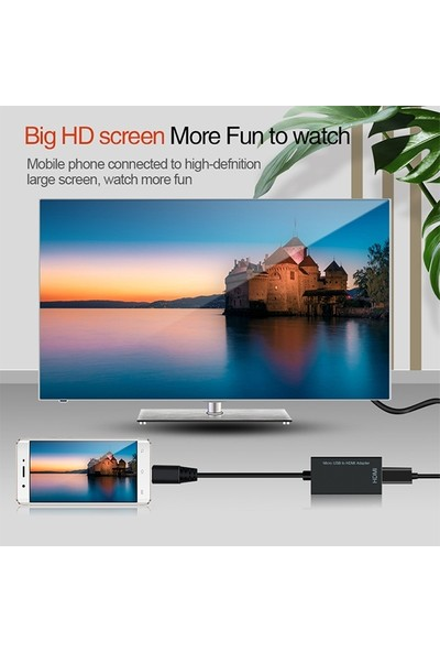Mhl Micro USB 4K 1080P HDMI Adaptör Telefon Tablet 192KHz Digital Audio - 60Hz HD Video AL-30644