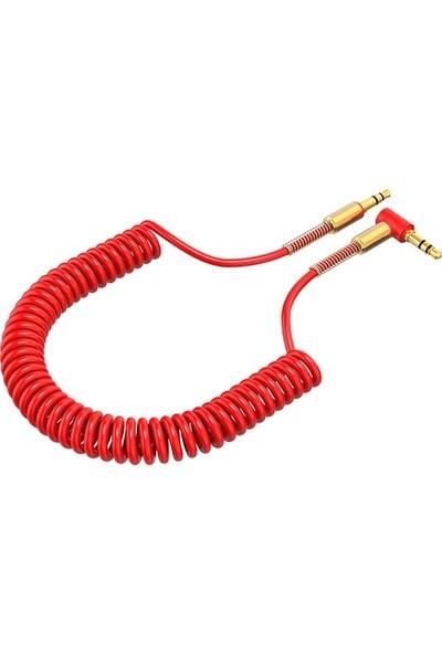 Spiral Eğik Başlı Araç Ses Aktarım Kablosu 3.5MM Aux Kablo 1.50mm AL-30827 - Kırmızı