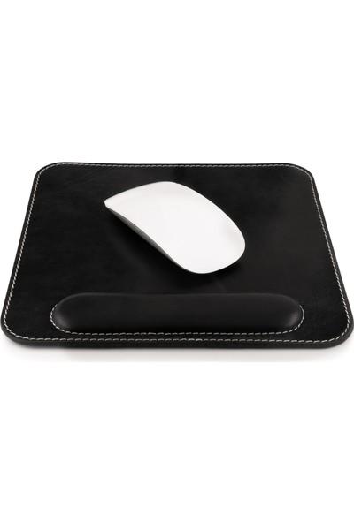 Londo Mousepad - Hakiki Deri Mouse Pad - Bilek Destekli - Rahatlatıcı Süngerli