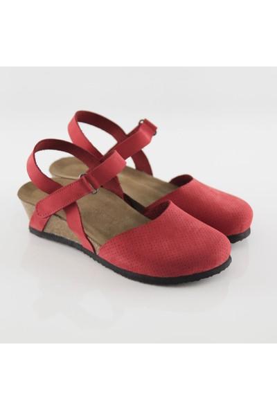 ART'iz Perge Kırmızı Platform Sandalet