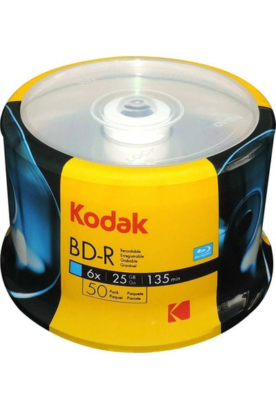 Kodak Blu-Ray DVD Bd-R 6x 25GB 50'li Paket Cakebox