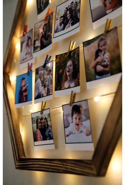 Webotto Doğal Ahşap Işıklı İpli Mandallı Altıgen Fotoğraf Çerçevesi