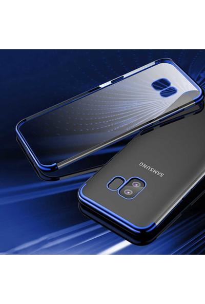 Tekno Grup Samsung Galaxy A51 Kılıf Dört Köşe Renkli Şeffaf Lazer Silikon - Mavi