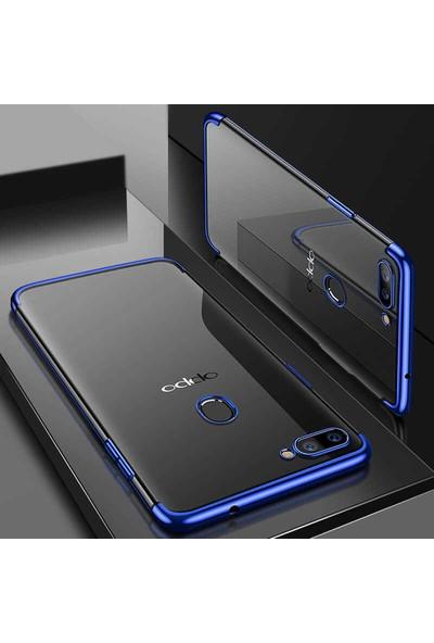 Tekno Grup Oppo AX7 Kılıf Dört Köşe Renkli Şeffaf Lazer Silikon - Mavi + Cam Ekran Koruyucu