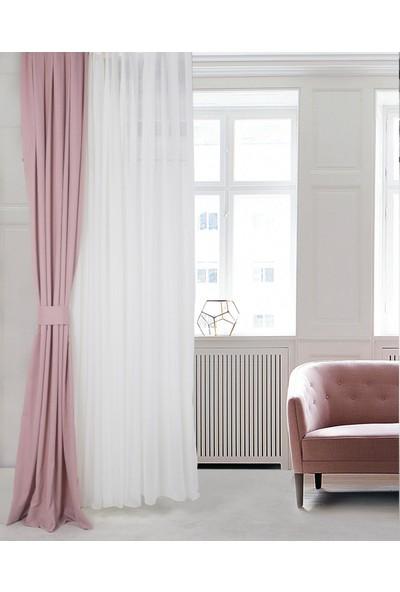 Gauze Fabric Design Safir Lavanta Pembesi Fon Perde 50 x 260 Pilesiz