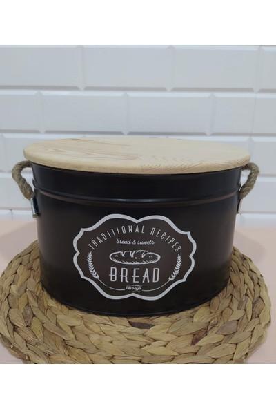 Feronya Ekmeklik Ahşap Kapaklı Hasır Ipli Kulp Metal