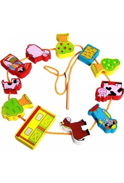 Woody Life Ahşap Çiftlik Hayvan İpe Dizme Çocuk Oyuncak Bultak Eşleştirme Mo