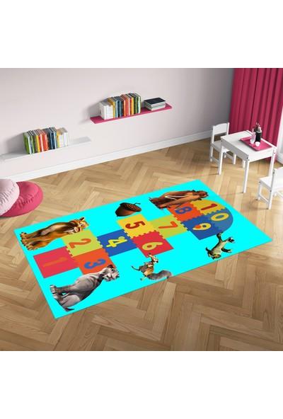 Hometeks Buz Devri4 Seksek Desen Kaymaz Taban Çocuk Odası Halısı 60 x 100 cm