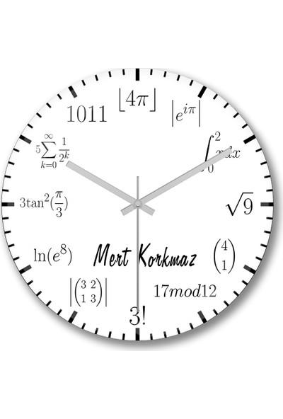 Baskı Dükkanı Kişiye Özel Bombeli Gerçek Cam Matematik Formüllü Duvar Saati