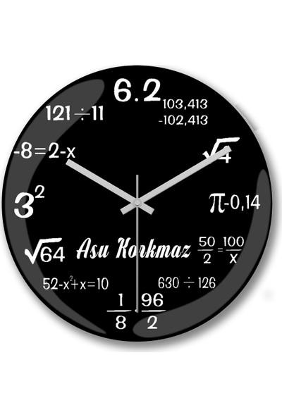 Baskı Dükkanı Kişiye Özel Bombeli Gerçek Cam Matematik Duvar Saati