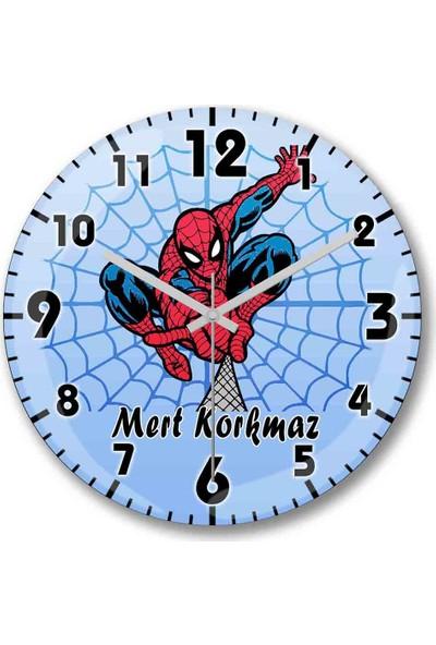 Baskı Dükkanı Kişiye Özel Bombeli Gerçek Cam Spiderman Örümcek Adam Duvar Saati