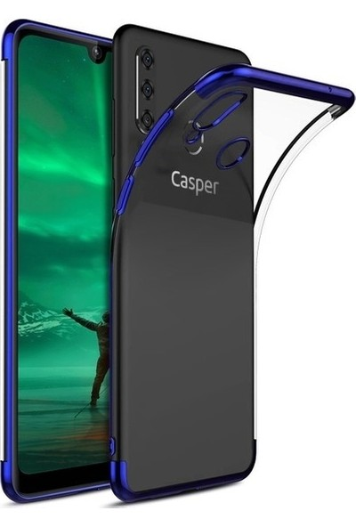 Tekno Grup Casper Via F3 Kılıf Dört Köşe Renkli Şeffaf Lazer Silikon - Mavi