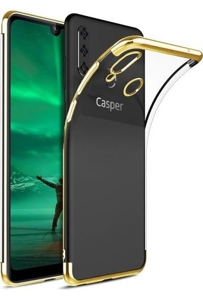Tekno Grup Casper Via F3 Kılıf Dört Köşe Renkli Şeffaf Lazer Silikon - Gold + Cam Ekran Koruyucu