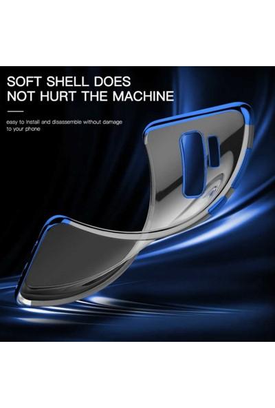 Tekno Grup Alcatel 3x 2019 Kılıf Dört Köşe Renkli Şeffaf Lazer Silikon - Gümüş + Nano Ekran Koruyucu