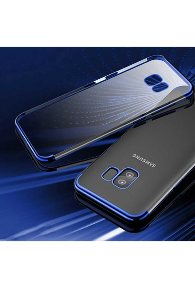 Tekno Grup Samsung Galaxy J4 Plus Kılıf Dört Köşe Renkli Şeffaf Lazer Silikon - Gümüş + Tam Kaplayan 5D Cam Ekran Koruyucu