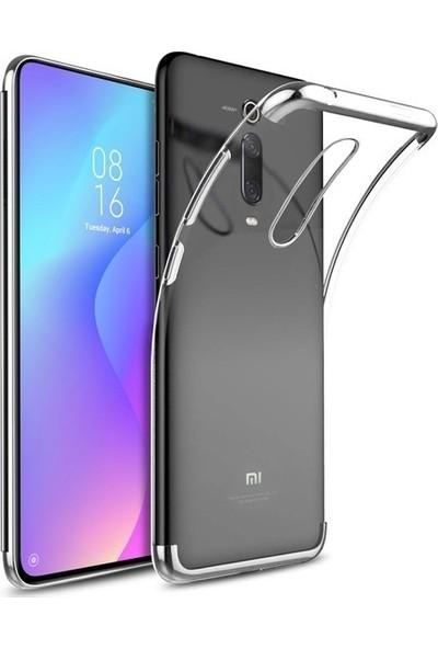 Tekno Grup Xiaomi Mi 9T Kılıf Dört Köşe Renkli Şeffaf Lazer Silikon - Gümüş + Tam Kaplayan 5D Cam Ekran Koruyucu