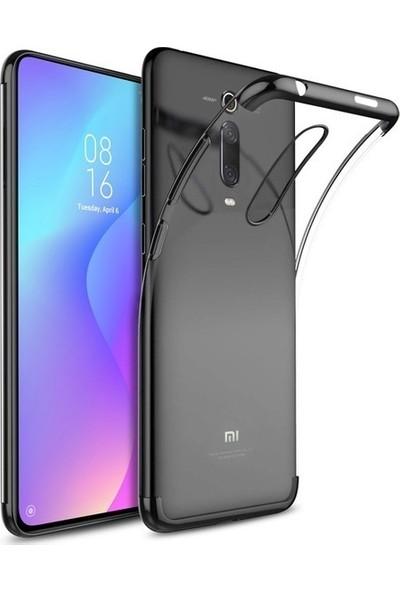 Tekno Grup Xiaomi Mi 9T Kılıf Dört Köşe Renkli Şeffaf Lazer Silikon - Siyah + Tam Kaplayan 6D Nano Ekran Koruyucu