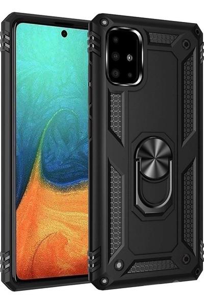 Teleplus Samsung Galaxy Note 10 Lite Kılıf Vega Yüzüklü Tank Kapak Siyah