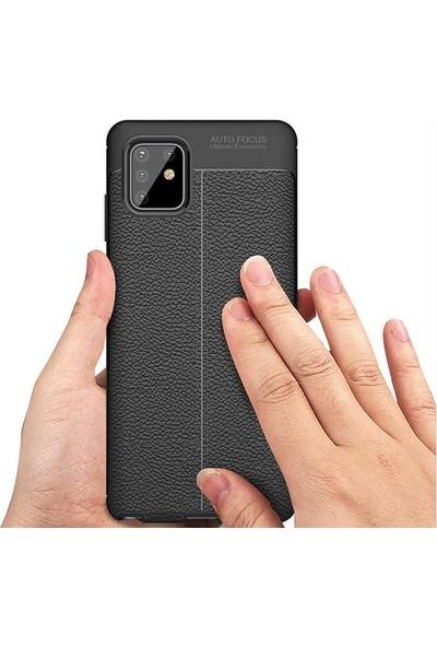 Teleplus Samsung Galaxy A81 Kılıf Deri Dokulu Silikon Siyah + Tam Kapatan Ekran Koruyucu