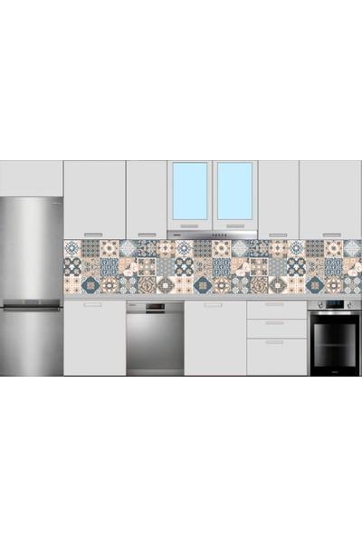 Renkli Duvarlar Mutfak Tezgah Arası Çiçek Motif Desen Folyo Kaplama