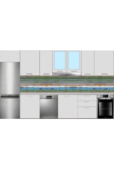 Renkli Duvarlar Mutfak Tezgah Arası Renkli Eskitme Ahşap Folyo Kaplama