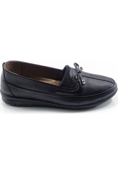 Classter Siyah Fiyonklu Deri İç Astarlı Anatomik Kadın Ayakkabı