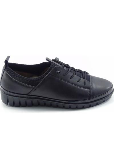 Norfix Siyah Deri İç Astarlı Streç Malzeme Anatomik Kadın Ayakkabı
