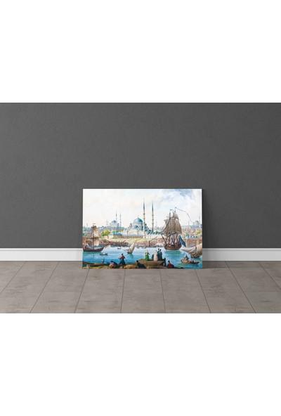 Parmak İzi Tablo Jean Baptiste Hilair - Yeni Camii ve Istanbul Limanı - 50X80