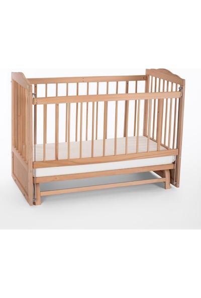 Heyner Ahşap Organik Beşik Anne Yanı Beşik 3 Kademeli Lüx Bebek Beşiği 60 x 120 cm ve Soft Ortopedik Fermuarlı Terletmez Kumaşlı Yatak