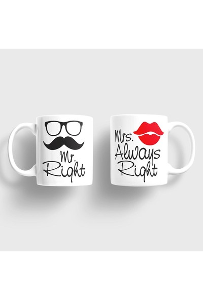 Sevgili Kupaları Mr. Right Mrs. Always Right Sevgili Kupaları