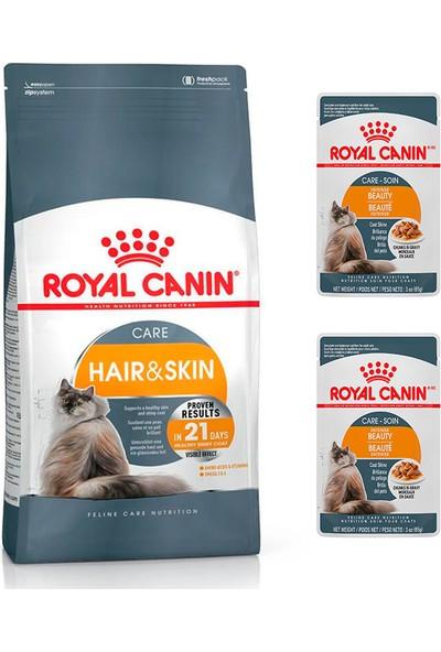 Royal Canin Adult Yetişkin Hair Skin Tavuklu 2 kg Kedi Maması + Royal Canin Beauty Care Yaş Mama 2 Adet