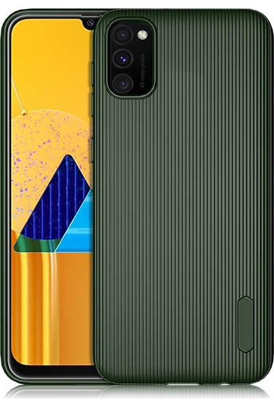 Coverzone Samsung Galaxy A51 Kılıf Düz Çizgili Mat Active Silikon Kılıf Tio Koyu Yeşil