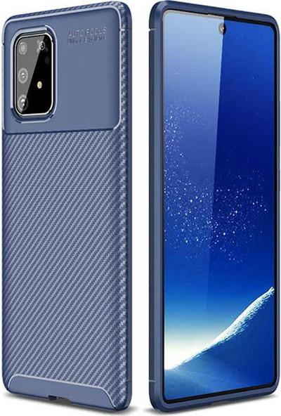Coverzone Samsung Galaxy Note 10 Lite Kılıf Karbon Delüx Tpu Silikon Dlx Lacivert