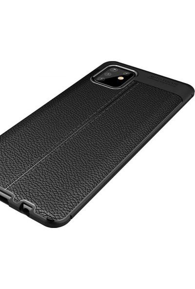 Coverzone Samsung Galaxy Note 10 Lite Kılıf Niss Silikon Deri Görünümlü Niss Siyah