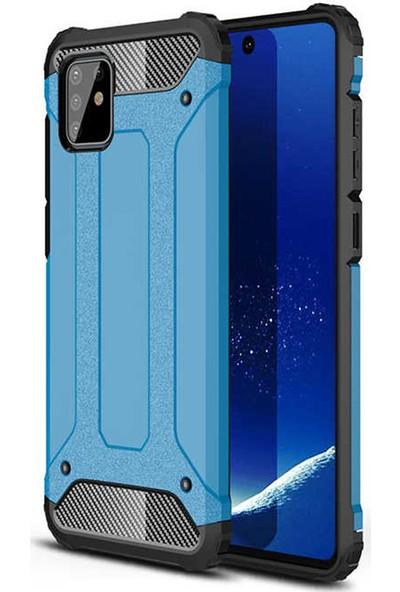 Coverzone Samsung Galaxy Note 10 Lite Kılıf Shockproof Slikon Zırh Mavi