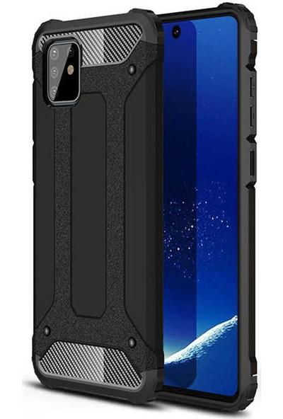 Coverzone Samsung Galaxy Note 10 Lite Kılıf Shockproof Slikon Zırh Siyah