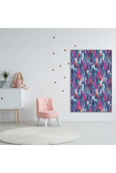 Henge Mor PembeMaviRenkli İkat Desenli Batik Duvar Örtüsü