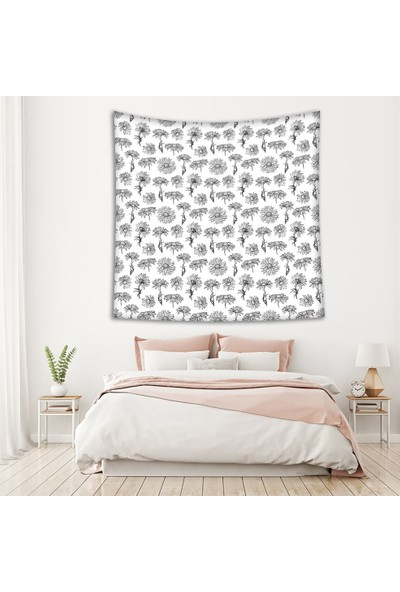 Henge Siyah Beyaz Çiçek Desenli Duvar Örtüsü