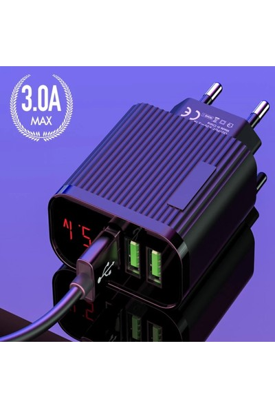Judas Adp9 LED Göstergeli 3 Girişli Hızlı Şarj Adaptörü - Siyah