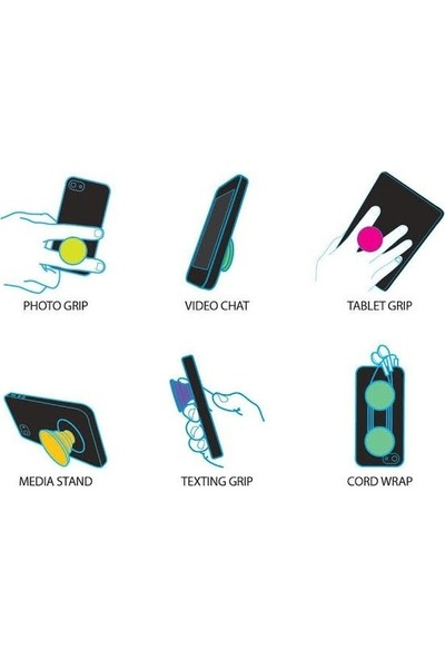 Syronix Pop Socket Şaşkın Emoji Desenli Telefon Tutacağı