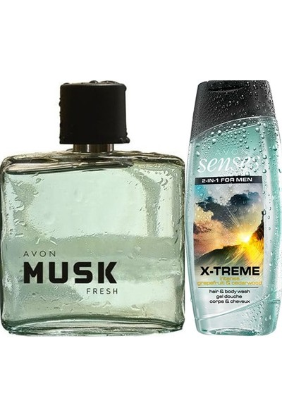 Avon Musk Fresh 75 Ml Erkek Edt+Avon Senses 250 Ml Duş Jeli