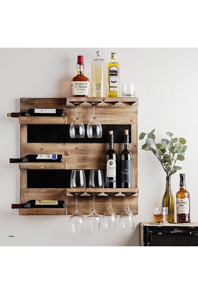 Ecodeco Duvar Şarap Rafı Şaraplık Mini Bar