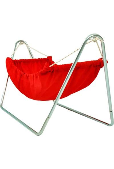 Bundera Eko Beşik Portatif Standlı Bebek Beşiği Salıncağı - Hamak Beşik - Kırmızı