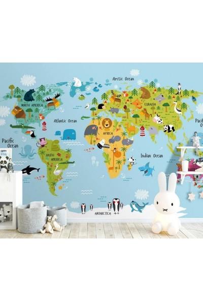 Duvar Kağıdı Marketi 3D Dünya Haritası Hayvanlı Duvar Kağıdı