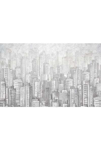 Duvar Kağıdı Marketi Karakalem Bina Görünümlü 3D Duvar Kağıdı