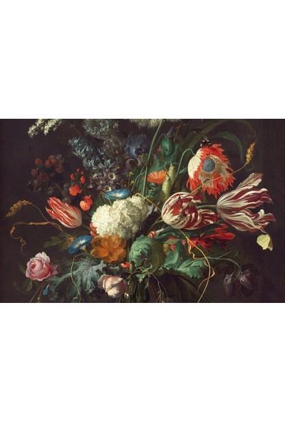 Duvar Kağıdı Marketi Renkli Çiçek ve Vazosu Duvar Kağıdı( 500 x 315 Cm)